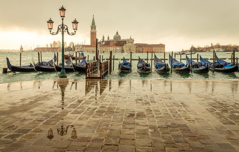 Photo wallpaper sea, the city, overcast, island, Marina, Italy, lantern, Venice, Italy, gondola, Venice, San Giorgio Maggiore, …