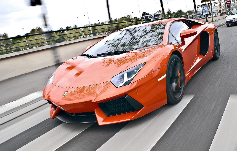Photo wallpaper road, speed, lamborghini, road, speed, orange, aventador, lp700-4, Lamborghini, aventador, crosswalk