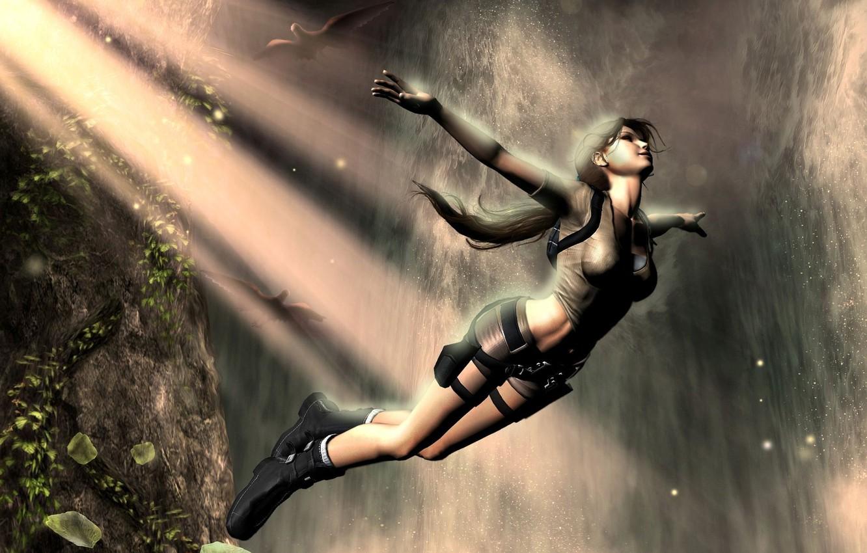 Photo wallpaper girl, birds, rock, fiction, jump, waterfall, Tomb Raider, Lara Croft