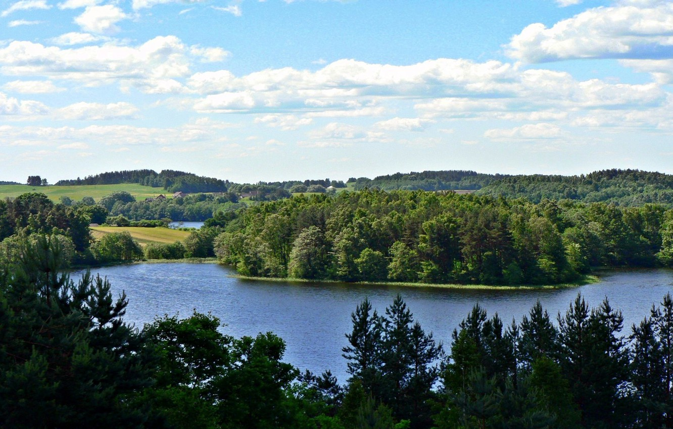 Photo wallpaper forest, the sky, clouds, trees, nature, lake, photo, hills, Lithuania