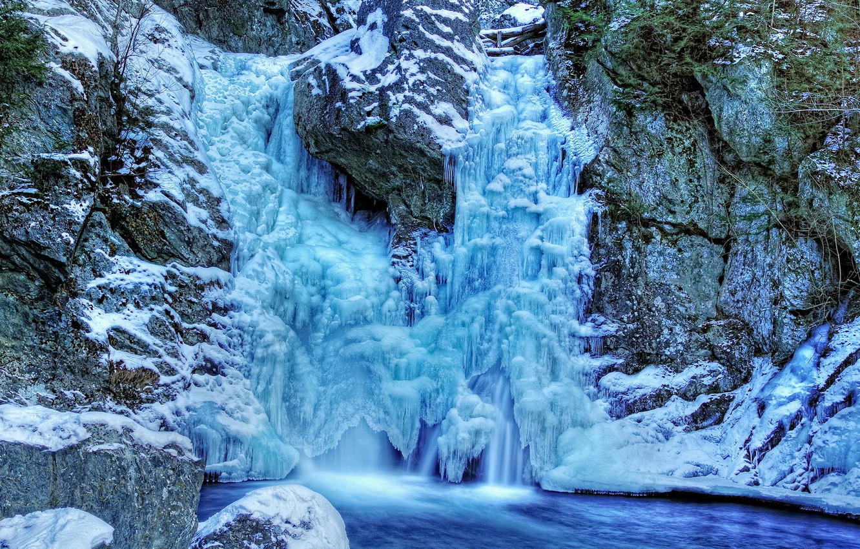 Photo wallpaper cold, winter, frozen waterfall