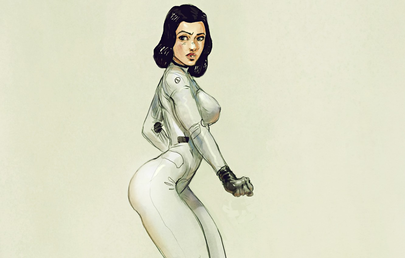 Photo wallpaper girl, art, costume, suit, post apocalyptic, space suit