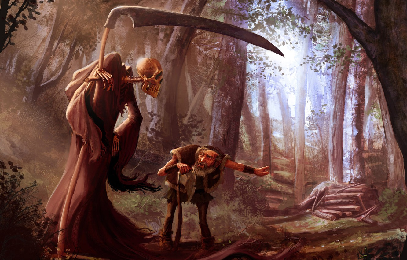 Photo wallpaper forest, death, the old man