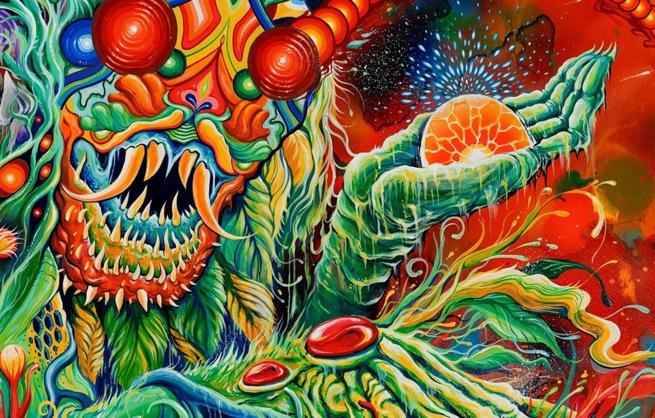 Photo wallpaper monster, monster, band, psychedelic, cover, symbolism, Once More 'Round the Sun, mastodon, psyhodelic