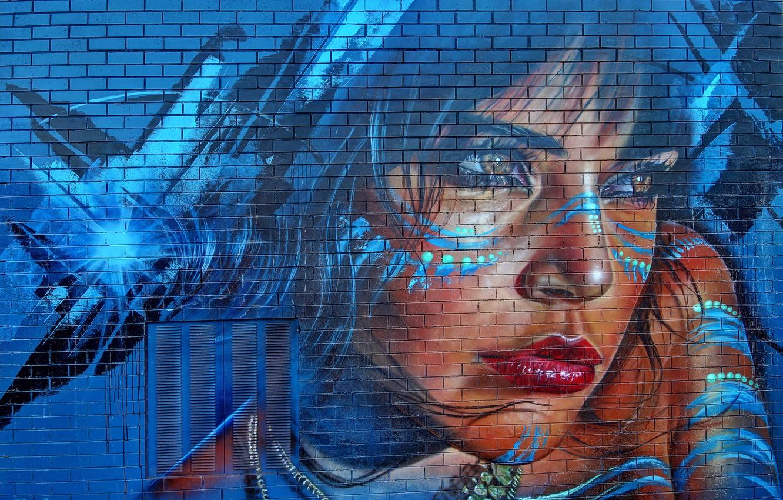 Photo wallpaper girl, wall, graffiti, figure