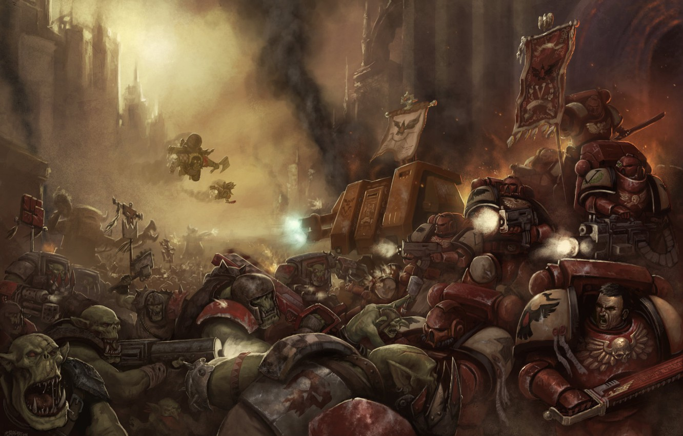 Wallpaper Battle Space Marine Warhammer 40000 Orks Orc