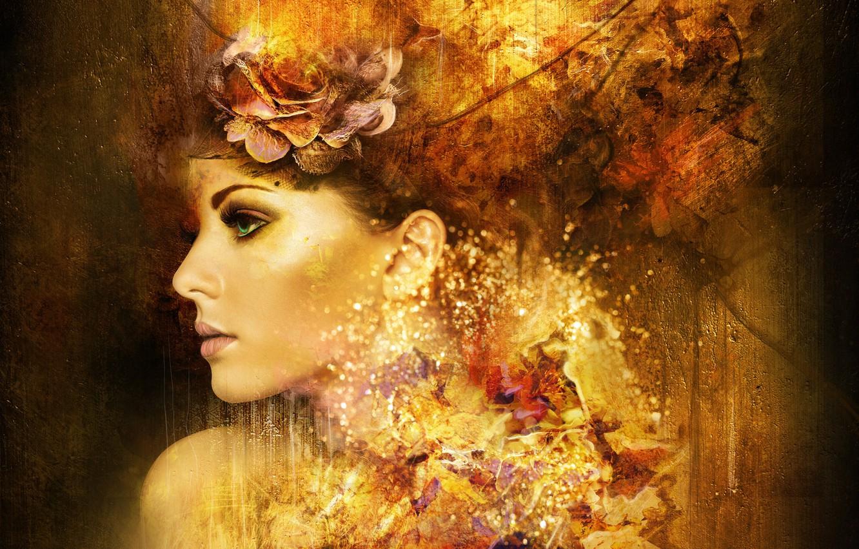 Photo wallpaper flower, girl, abstraction, face, art, profile, green eyes