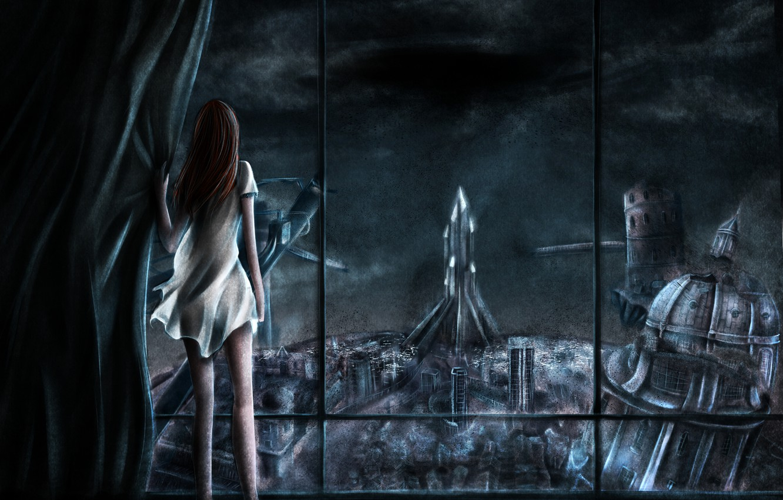 Photo wallpaper girl, night, the city, window, art, ruins, back, xilveroxas
