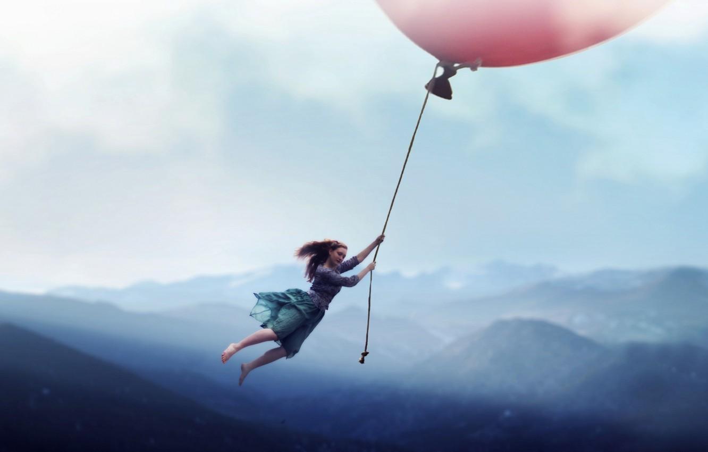 Photo wallpaper girl, ball, the situation, flight