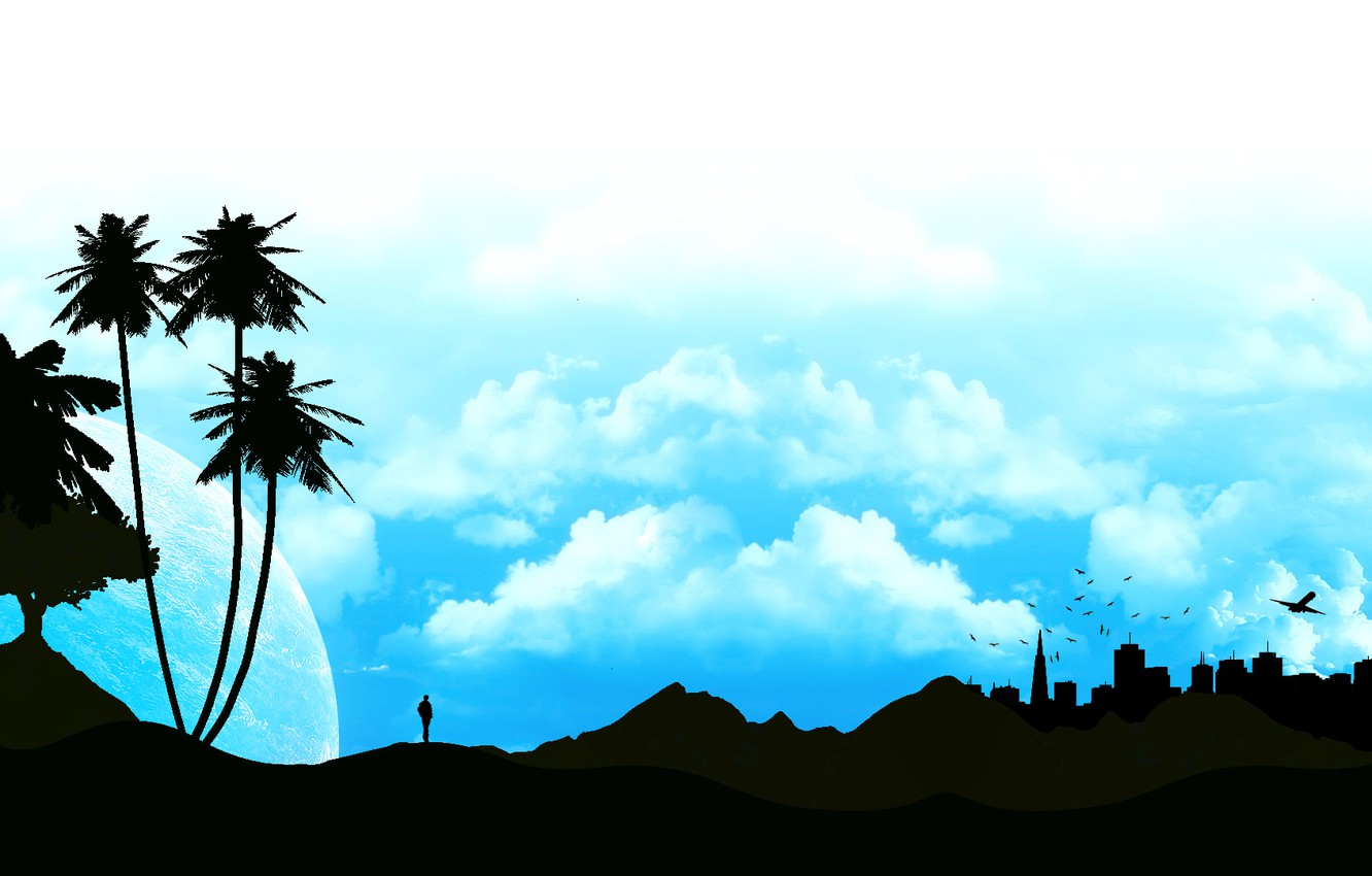 Photo wallpaper the sky, clouds, landscape, the city, Palma, people, silhouette, profile