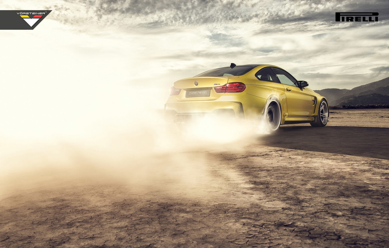 Photo wallpaper BMW, Car, Vorsteiner, Yellow, Smoke, Pirelli, Wheels, Desert, Rear, 2015, Skid, GTRS4