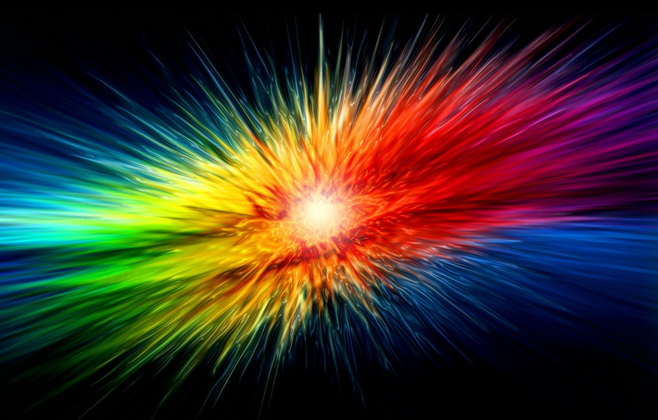 Photo wallpaper rays, the explosion, Color