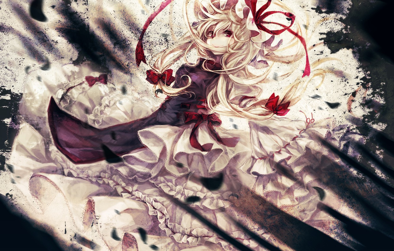 Photo wallpaper girl, smile, dress, touhou, strikingly is wait, looking at the viewer
