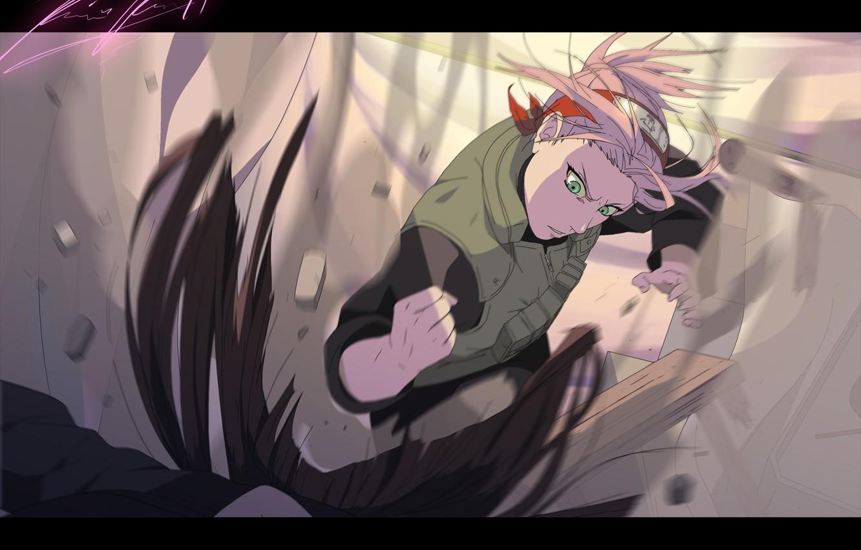 Photo wallpaper look, girl, stones, dust, blow, headband, Naruto, Sakura Haruno