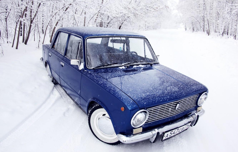 Photo wallpaper winter, forest, snow, blue, penny, classic, blue, Lada, 2101, VAZ