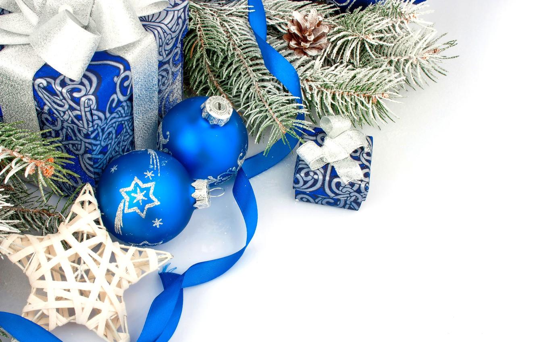 Photo wallpaper decoration, balls, New Year, Christmas, gifts, Christmas, balls, blue, New Year, gift, decoration