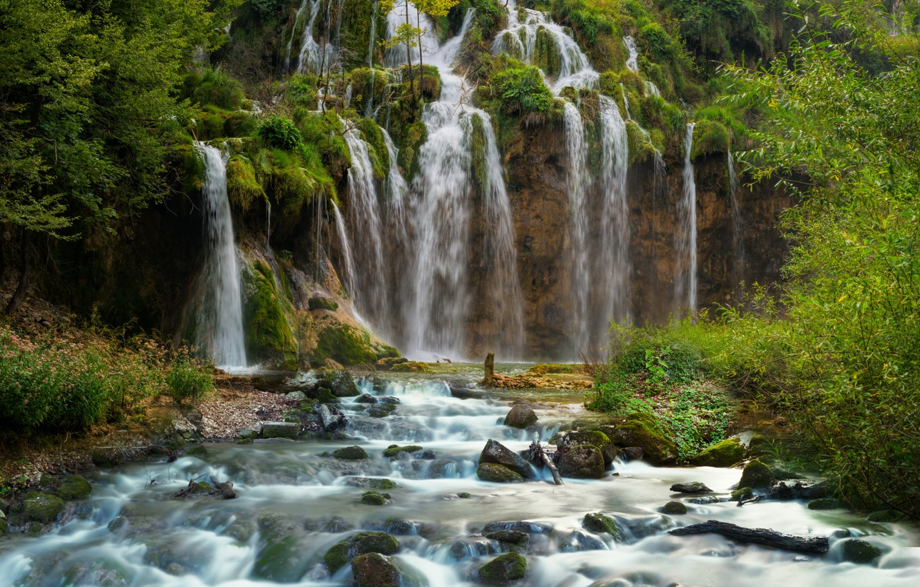 Photo wallpaper forest, rock, stream, stones, for, waterfall, Croatia, Plitvice National Park