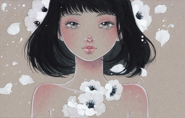 Photo wallpaper girl, flowers, face, figure, art, Victoria-Rivero