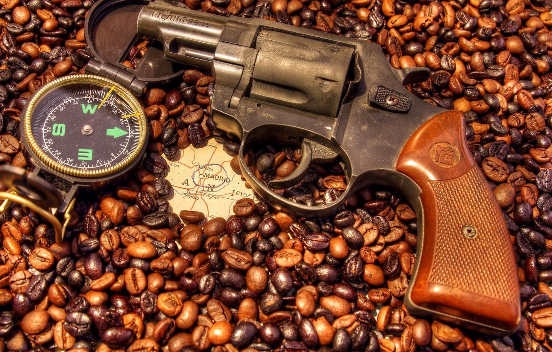 Photo wallpaper coffee, map, Spain, revolver, compass, grain, Madrid, six, Rohm