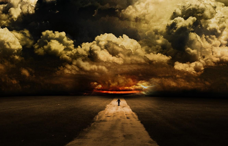 Photo wallpaper road, the sky, clouds, people, art, abdelrahman