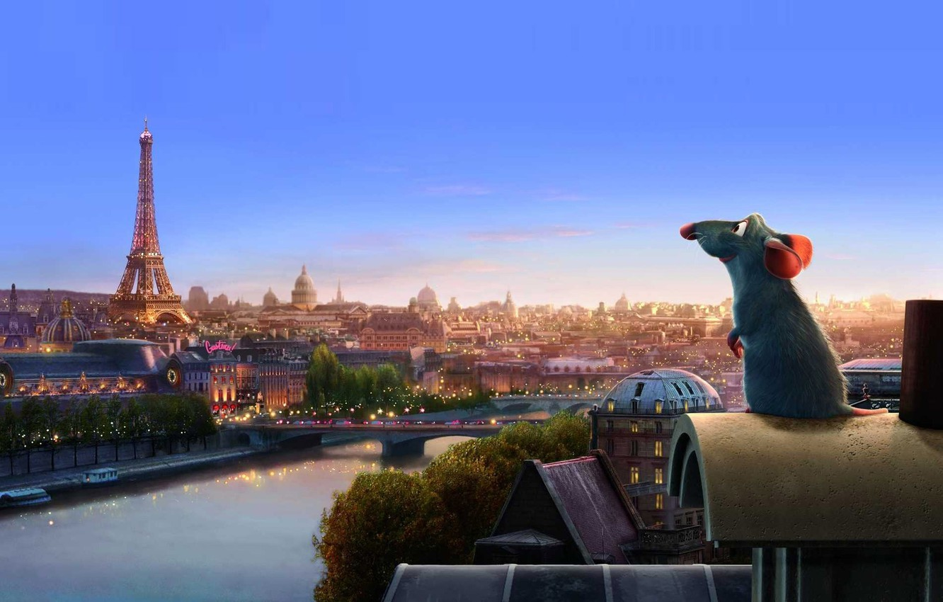 Photo wallpaper cartoon, Paris, Ratatouille, mouse