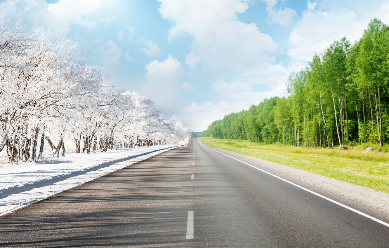 Photo wallpaper winter, road, summer, the sky, trees, markup