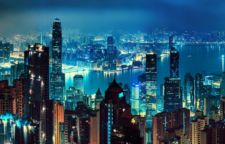 Photo wallpaper night, lights, river, home, Hong Kong, skyscrapers, panorama, China, megapolis