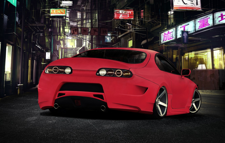 Photo wallpaper tuning, red, Toyota, toyota supra