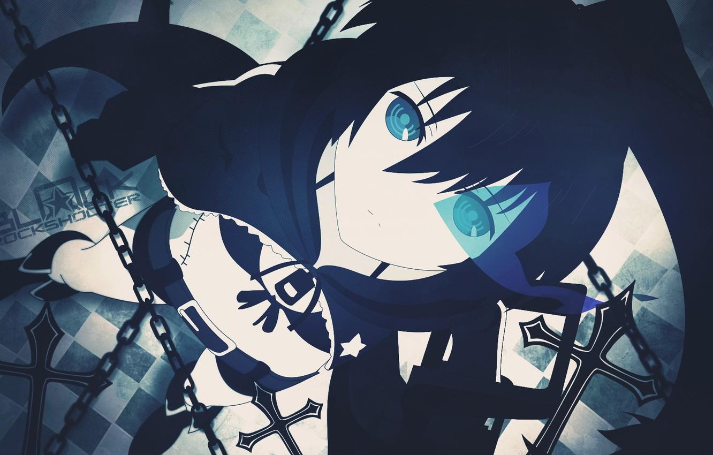 Photo wallpaper anime, art, girl, chain, black rock shooter, glowing eyes