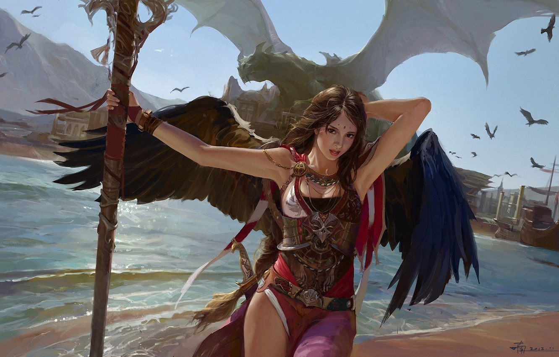 Photo wallpaper girl, birds, dragon, ship, wings, art, port, staff, harbour