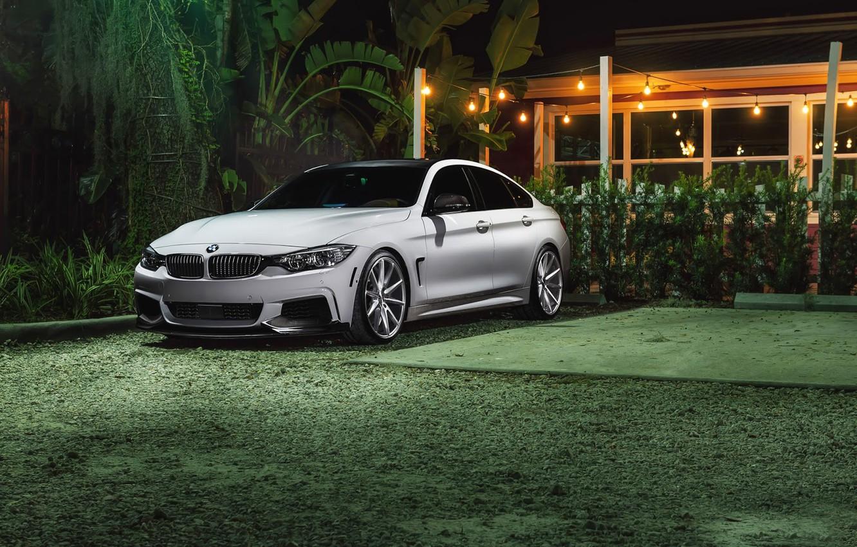 Photo wallpaper BMW, Car, Grass, Power, Green, Front, White, Series, Sport, Vossen, Wheels, VFS1