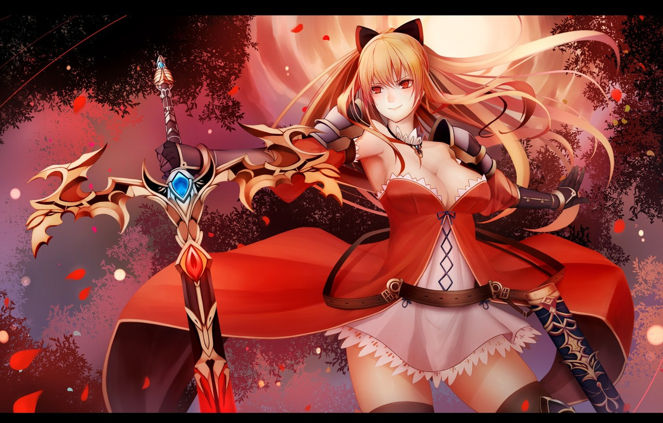 Wallpaper Girl Weapons Tree Sword Anime Petals Warrior Art