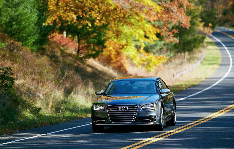 Photo wallpaper Audi, Auto, Road, Trees, Street, Sedan, The front