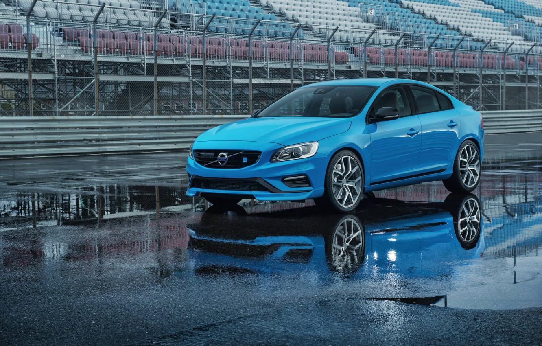 Photo wallpaper asphalt, blue, puddle, the fence, sedan, s60, volvo, Volvo, feed, polestar, C60