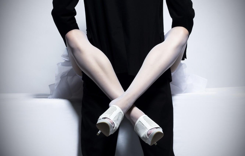 Photo wallpaper feet, woman, stockings, costume, male, link, woman, man