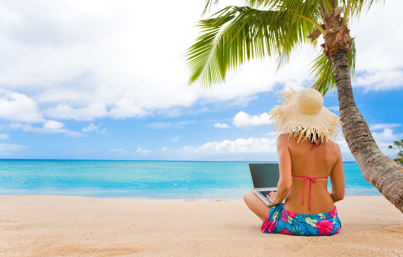 Photo wallpaper sand, sea, wave, beach, swimsuit, girl, tropics, Palma, stay, laptop, hat, resort, seaside, straw, Woman