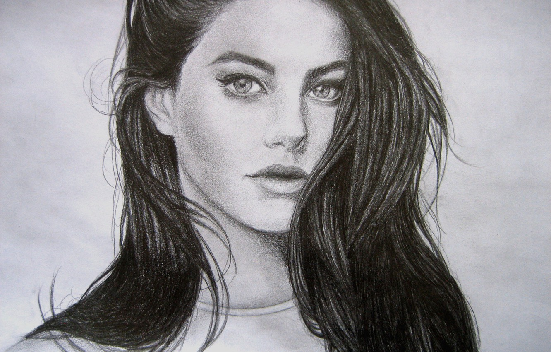 Photo wallpaper eyes, look, girl, face, hair, pencil, painting, Kaya Scodelario