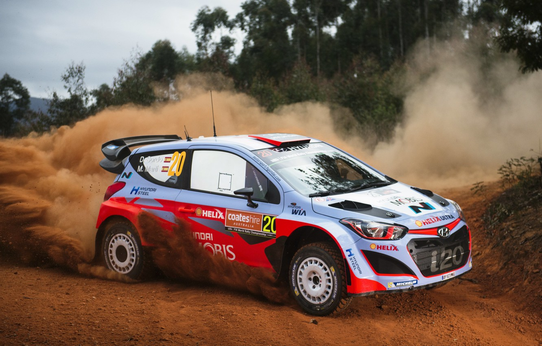 Photo wallpaper Dust, Hyundai, WRC, Rally, Rally, i20, Dani Sordo, Hyundai