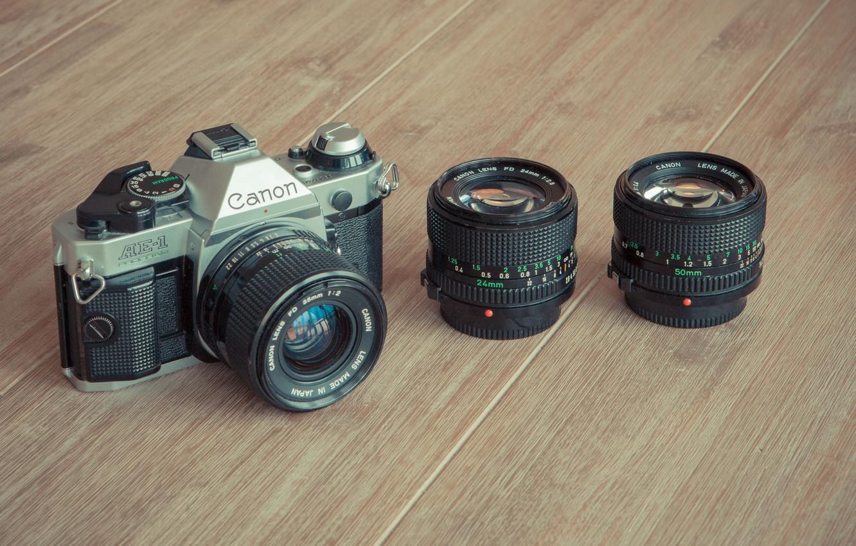 Photo wallpaper wood, camera, Canon, lenses
