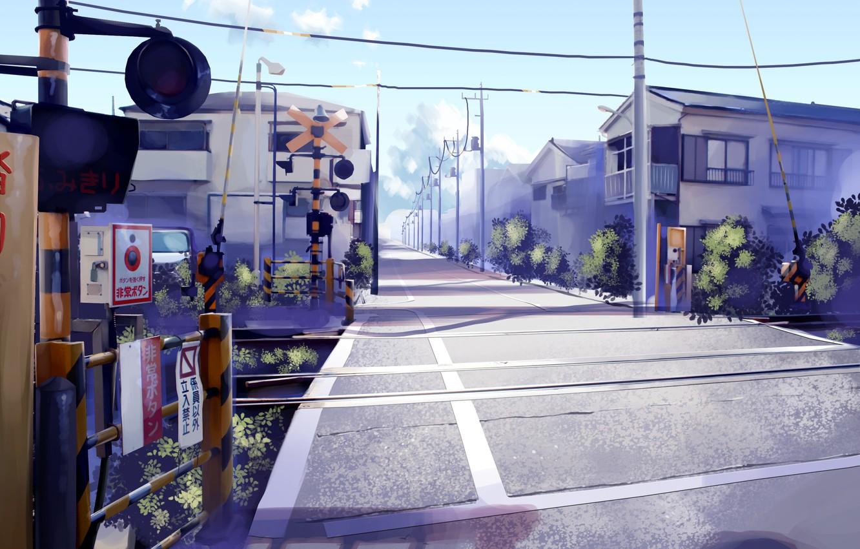 Photo wallpaper the city, markup, figure, Japan, art, traffic light, train, the barrier, moving, Japan town, railways