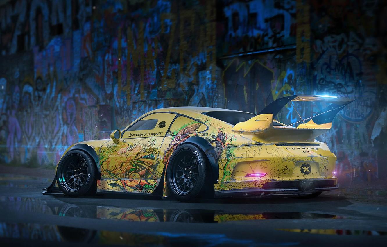 Photo wallpaper 911, Porsche, Body, GT3, Yellow, Rendering, Spoiler, Kit, by Khyzyl Saleem