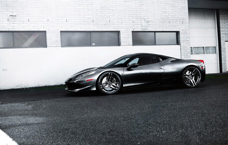 Photo wallpaper grey, black, the building, Windows, profile, wheels, ferrari, Ferrari, drives, black, grey, Italy, 458 italia