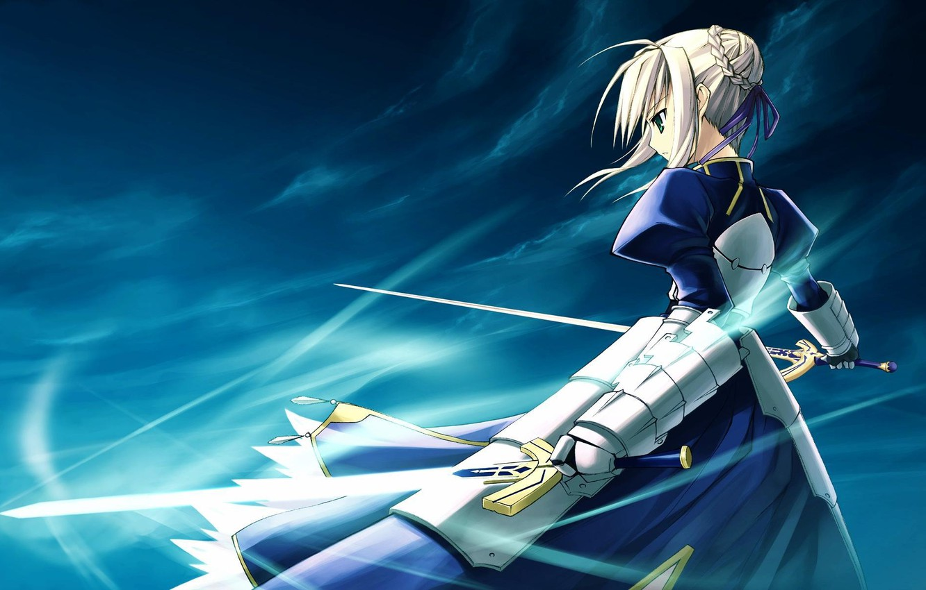 Photo wallpaper girl, background, the wind, sword, art, saber, fate/stay night, type-moon
