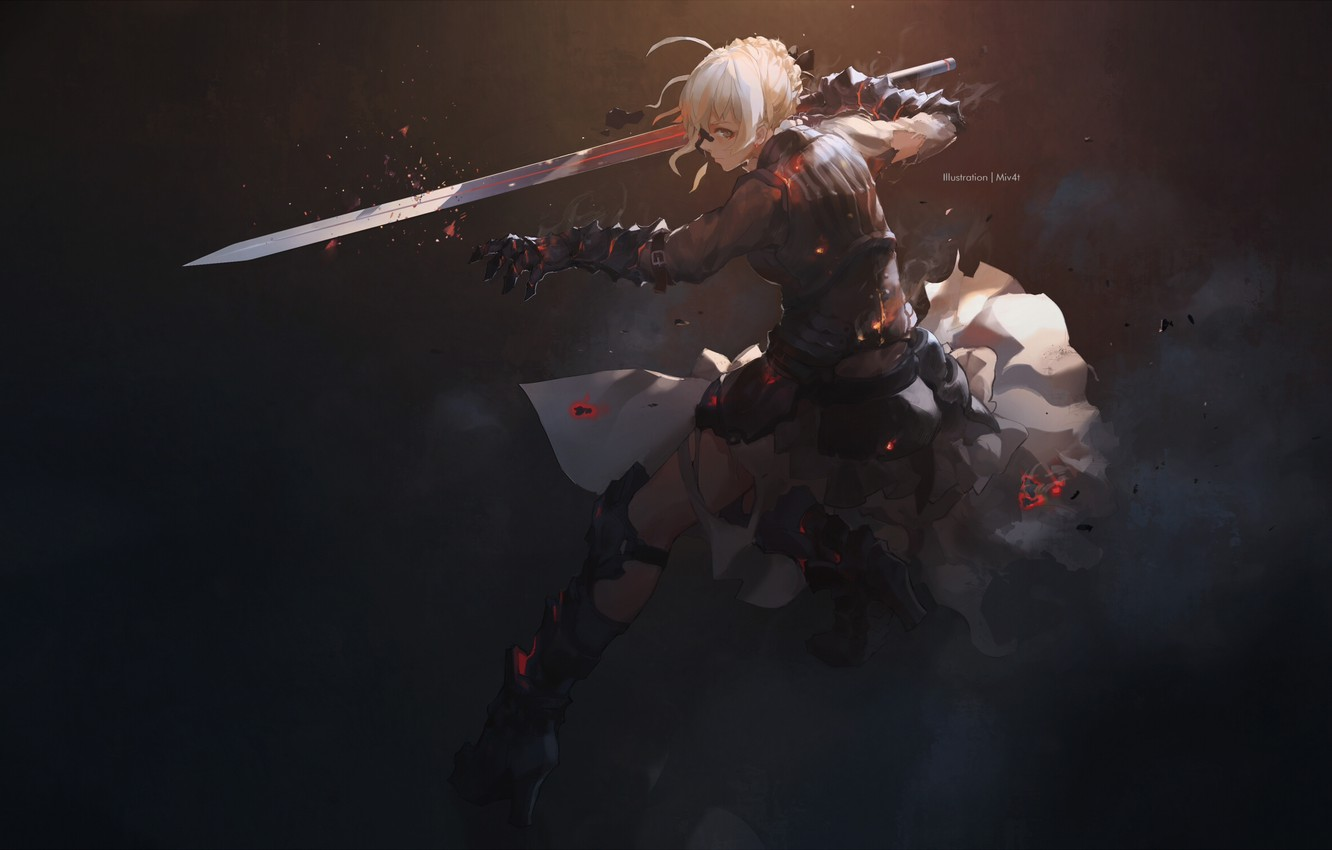 Photo wallpaper girl, sword, anime, art, Fate/Stay Night, The saber