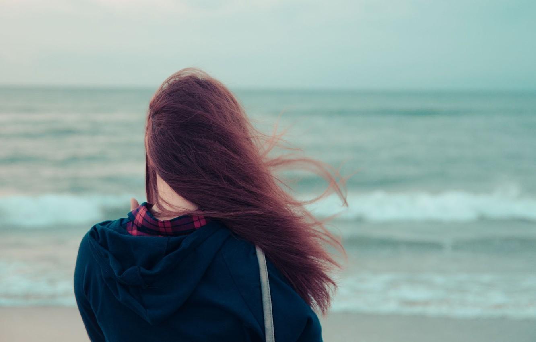 Photo wallpaper sea, water, girl, river, background, the wind, Wallpaper, mood, hair, brunette