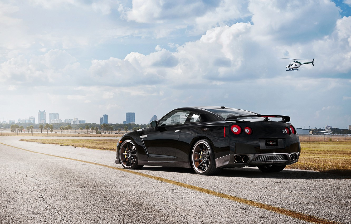Photo wallpaper the sky, clouds, black, nissan, helicopter, black, rear view, Nissan, gtr, r35, gt-R
