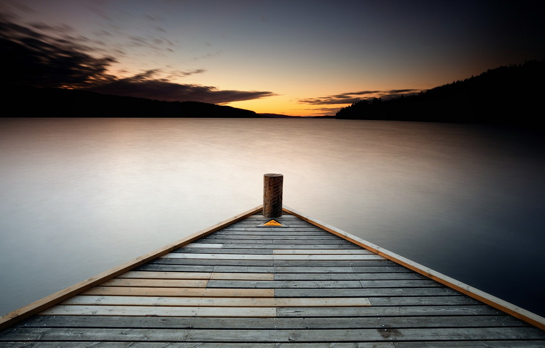 Photo wallpaper Resistance, sunset, lake, pier, triangle