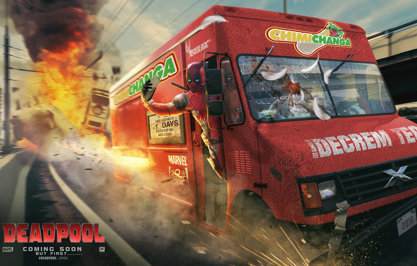 Photo wallpaper road, the explosion, van, Deadpool, fan art, marvel comics