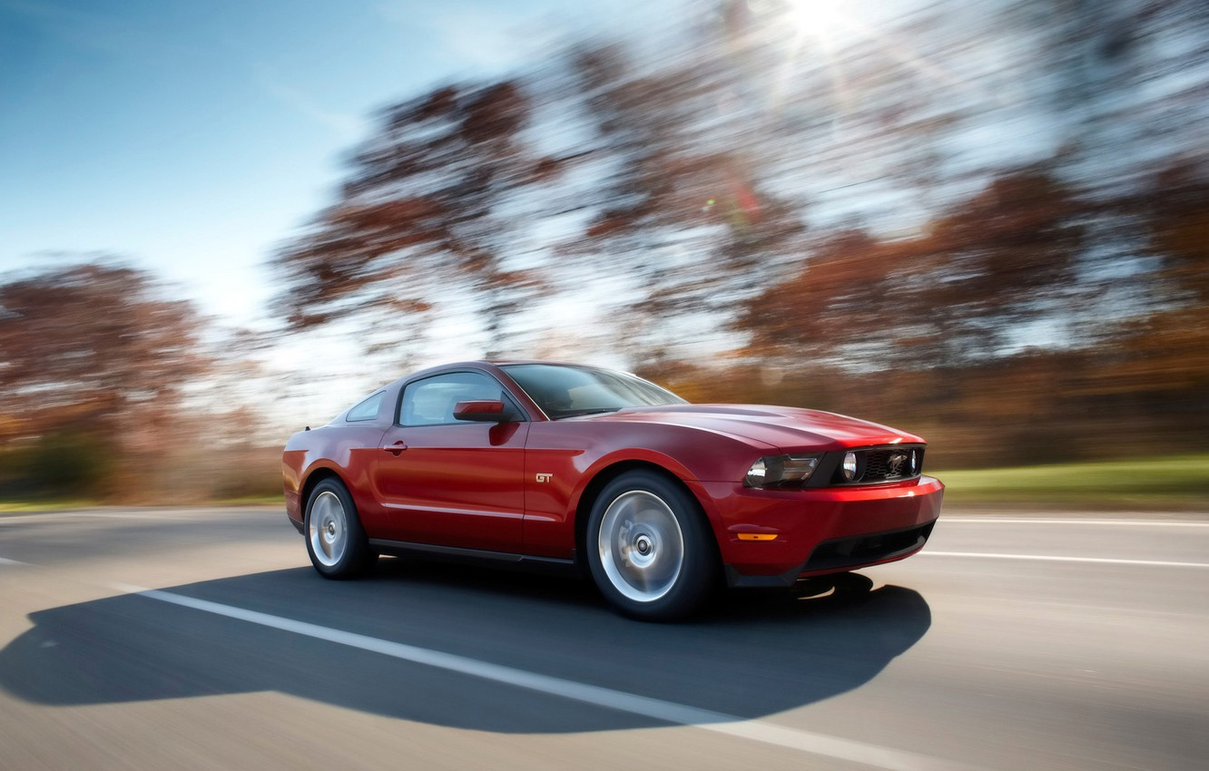 Photo wallpaper mustang, ford, road