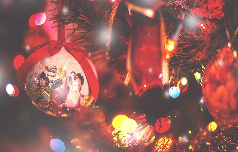 Photo wallpaper holiday, ball, lights, tape, tree, decoration, bokeh, Christmas